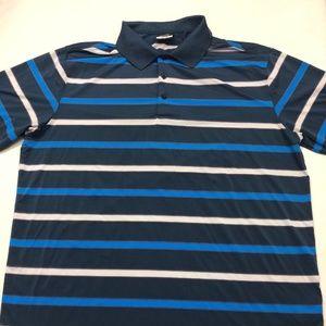 Nike Golf Dri Fit Men's Polo Shirt Blue Stripe XL